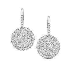 Diamond Classic Disc Earring in 14K White Gold with 100 Diamonds Weighings .54ct tw