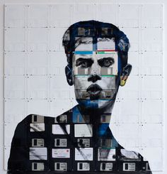 Nick Gentry floppy disks on canvas