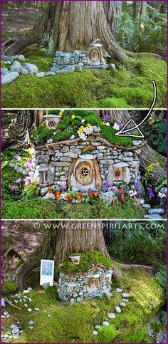 DIY Miniature Stone Fairy House Tutorial - DIY Mini Garden Fairy House Idea The Effective Pictures We Offer You About fairy garden A quality - Fairy Crafts, Garden Crafts, Garden Projects, Garden Art, Garden Design, Fairy Garden Houses, Gnome Garden, Diy Fairy House, Fairies Garden
