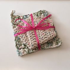 Soft Cool Colors, Trivet and Washcloth Set, 100% Cotton, Crochet by jabcrochet on Etsy https://www.etsy.com/listing/256099737/soft-cool-colors-trivet-and-washcloth