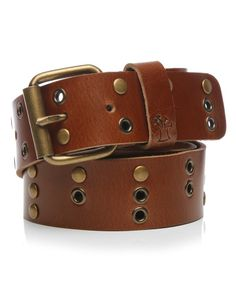 BAOBAB | Studded Leather Belt in Brown - - Style36