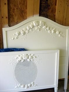 plain bed becomes ultra fancy with plaster molds and plaster stencils, painted furniture