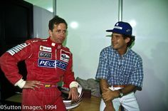 Senna and his replacement at McLaren for the 1994 season, his old competitor on track in Formula 3, a sold at less Martin Brundle. Sao Paulo, 1994