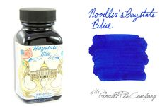 Noodler's Baystate Blue. (This is, without a SINGLE doubt, the most vibrant and blue ink on the market! If you love blue ink, it is not an option to possess this!) http://www.gouletpens.com/N19048/p/N19048