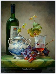7 das Artes: Still life de Gabor Toth. Painting Still Life, Still Life Art, Still Life Images, Fruit Painting, Wine Painting, Wine Art, In Vino Veritas, Caravaggio, Still Life Photography