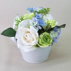 Artificial Flower Arrangement Rose Hydrangea Vintage Bowl Blue - RHJ002