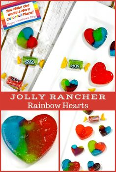 Homemade Jolly Rancher Rainbow Hearts candy
