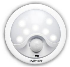 Ivation 8-LED Automatic Motion-sensing Night Light - Battery Powered Bright Hallway Light with a built in Motion and light Sensor