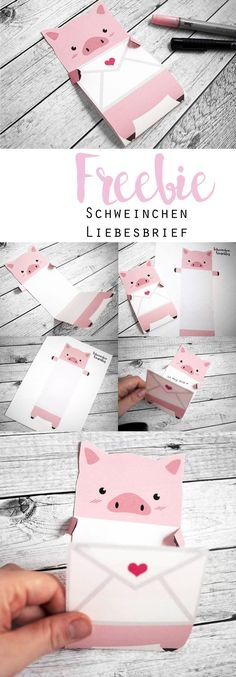 Freebie ~ Schweinchen-Liebesbrief - List of the most creative DIY and Crafts Kids Crafts, Diy And Crafts, Recycled Crafts, Easy Crafts, Tarjetas Diy, Ideias Diy, Cool Diy, Diy Cards, Love Cards