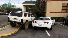 Jeep Owner Gets Last Laugh on Corvette Driver's Greedy Parking Job-- That's what is referred to as KARMA.