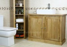 Prestige Stylish Bathroom Vanity Unit  #oakvanity #bathroom Oak Vanity Unit, Oak Bathroom Vanity, Vanity Cabinet, Solid Oak, Sink, The Unit, Stylish, Image, Sink Tops