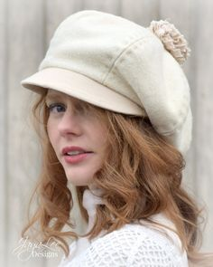A Beautiful Slouchy Newsboy Cap in Winter White Wool by Jaya Lee Designs  This 6 panel newsboy cap was handcrafeted from thick vintage wool.