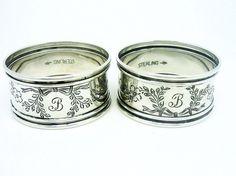 Pair Silver Napkin Rings, STERLING, Serviette, Bright Cut, Circular, Tableware, Engraved B, American, Webster Company c.1900, REF:286Q