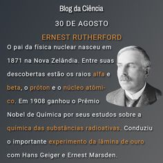 Ernest Rutherford, o pai da física nuclear, nasceu em 1871 na Nova Zelândia. Entre suas descobertas estão os raios alfa e beta, o próton e o núcleo atômico.