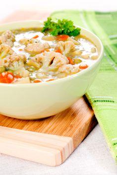 Roasted cauliflower soup | onion, carrot, garlic, roasted pepper, peas