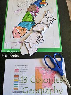 Hands on Geography idea for learning the 13 Colonies. | Harrington Harmonies