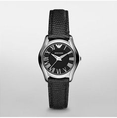 27 mm Classic   						  			  				$195.00  Retro and refined, this slim, classic style features a stainless steel case with a sophisticated three-hand dial and a black lizard leather strap.