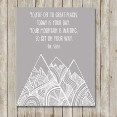 Dr. Seuss Mountain Nursery Art // Gray Nursery by twomoonsandafry, $5.00