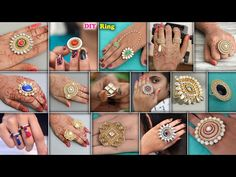 DIY - Designer Finger Ring For Gown Dresses & Crop tops - YouTube Silk Thread Earrings, Thread Jewellery, Jewellery Diy, Beaded Jewelry, Crop Top Dress, Baby Girl Dress Patterns, Indian Jewelry Sets, Diy Rings, Handmade Jewelry Designs