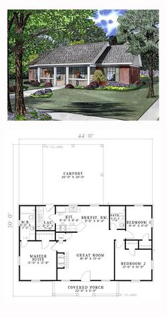 Ranch Style House Plan 62386 | Total Living Area: 1100 sq. ft., 3 bedrooms and 2 bathrooms. #ranchhome