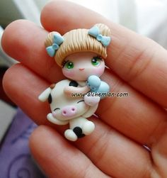 1 cute chibi kawaii doll with cow necklace made in italy via Etsy