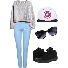 Comic-Con Type Of Gal by merima2002 on Polyvore featuring H&M, Converse, women's clothing, women's fashion, women, female, woman, misses and juniors