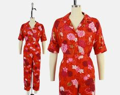 Vintage 60s Hawaiian Pant Suit / 1960s Tropical Floral Shirt Top & High Waist Pants Set M #vintage #hawaiian #tropical