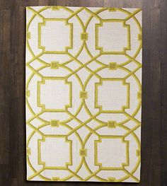 Natori Rug, chartreuse. gorgeous Mediterranean geometric pattern in chartreuse and olive on soft white. large scale feels current.