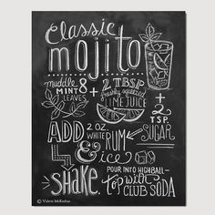 Typography Print Mojito Recipe Cocktail Recipe by LilyandVal