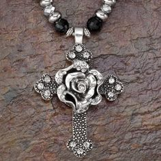 Crystal Rose Cross Necklace