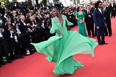 Lupita Nyong'o | Gucci Chiffon Gown | Cannes Film Festival 2105 | Red Carpet