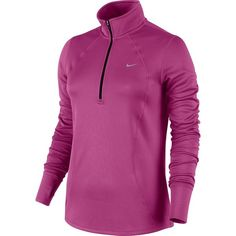 Women's Nike Racer Dri-FIT Half-Zip Running Top ($54) ❤ liked on Polyvore featuring activewear, activewear tops, med red, half zip pullover, sweater pullover, 1/2 zip pullover, nike activewear and nike
