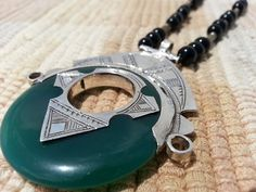 Handmade African Tuareg Necklace Tribal Ethnic Jewelry Green Agate Onyx Vintage | eBay