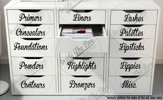 Beauty Label Decals piece set) for Drawers/Dressers/Alex Draws/Glass Draws/Plastic Containers by InsideTheBoxx on Etsy organization Beauty Label Decals & Custom Made piece set) for Drawers/Dressers/Alex Draws/Glass Draws/Plastic Containers Diy Makeup Organizer, Dresser Organization, Beauty Desk, Beauty Room, Hair Beauty, Container Design, Wooden Drawers, Dresser Drawers, Dressers