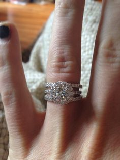 Cushion cut engagement ring and double wedding band my wedding double wedding bands junglespirit Image collections