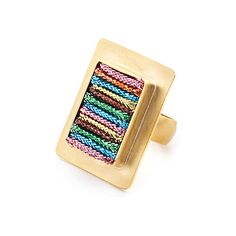 Rainbow ring with gold-plate, 18kt gold, and multicolored metallic threads by Citrine By The Stones