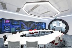 Photos by Sabin Prodan Space Invaders, Bucharest, Office Interiors, Cool Wallpaper, Spaceship, Star Trek, Cool Designs, Conference Room, Deck