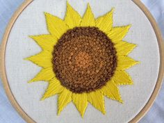 Sunflower Hand Embroidery Embroidered Flower Hoop 4 inch Wall art Hoopart by BlossomandBloomShop on Etsy https://www.etsy.com/listing/472059553/sunflower-hand-embroidery-embroidered