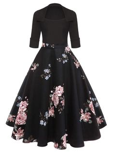 Women 2019 Floral Print Black Midi Vintage Flare Dress Vestidos Square Neck Ball Gown A Line Party Dress Black 1 XL Plus Size Vintage Dresses, Vintage 1950s Dresses, Retro Dress, Plus Size Dresses, 50s Vintage, Vintage Outfits, Robe Swing, Swing Dress, Casual Dresses