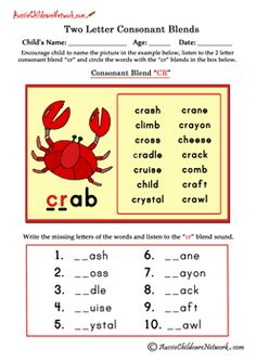 2 letter consonant blends printable worksheets