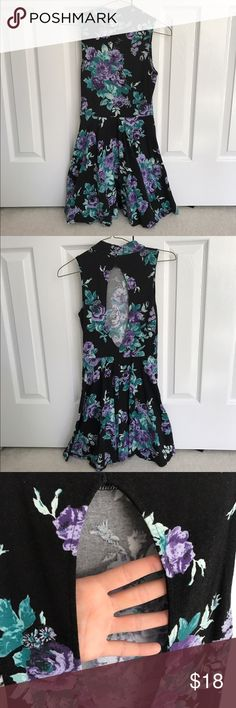 Floral High Rise Dress This dress comes up high in the front and has an open back! There are no flaws or stains and it falls above the knee. From Urban Outfitters, this dress is a small & is true to size Urban Outfitters Dresses Backless
