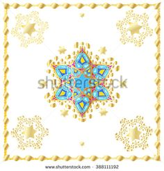 Golden Abstract white background with gold stars and decorative ornament. Digital Illustration for Art, Print, Web, fashion, textile, Album, Holiday crafts, invitation, carnival graphic design. Vector - stock vector