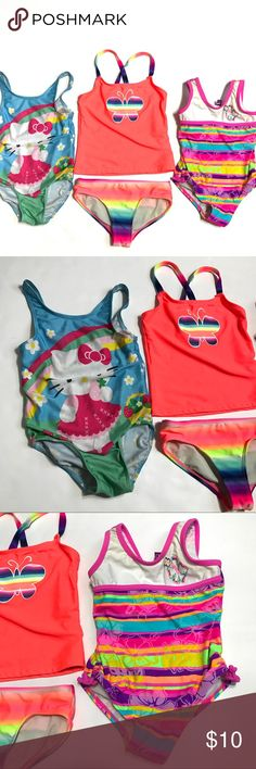 Lot of 3 Girls Bathing Suit Hello Kitty OP Tankini Lot of 3 Girls SZ 4 4-5 Swim Bathing Suits Hello Kitty One Piece OP Tankini  *Bathing suits are in good used condition. Hello Kitty suit has some pilling on bottom. Please see pictures. OP Swim One Piece