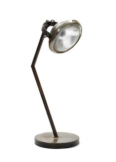 "AMATUS Old fashion car light desk lamp Dimensions: 9"" Dia. at Base x 22.5"" H Materials: Reclaimed Motorcycle Parts Finish: Industrial ""Random"" Number of Sockets 1 Each Socket 7W SKU#GHL63301 yuri@sescolite.com"