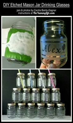 DIY Etched Mason Jar Drinking Glasses I've been looking for a glass etching DIY and this one is great! Mason Jar Projects, Mason Jar Crafts, Mason Jar Diy, Bottle Crafts, Mason Jar Candy, Mason Jar Cups, Mason Jar Tumbler, Etched Mason Jars, Pot Mason