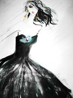 Fashion Illustration  of  Women in Doir Taffeta by LuvBeautiful