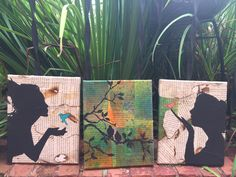 3 Silhouette Canvas Painting/ Woman and Birds/ Mix media Art/ Burned pages/Wall Art/ Home Decor by LaNovaDot on Etsy https://www.etsy.com/listing/485876001/3-silhouette-canvas-painting-woman-and