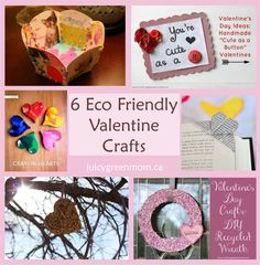 #EcoFriendly #Valentine Crafts that you can make with materials that might otherwise go to the landfill! Easy, green, & frugal!