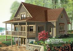 House plan W3918, 1st Level : 9' ceiling. Entry hall with coat closet, kitchen with snack-bar, dining area, living room with see-thru fireplace, master suite with fireplace, walk-in closet and private bathroom, half-bath, laundry room.  2nd Level : Two secondary bedrooms, two full bathrooms, family room (or bedroom #4) with balcony.