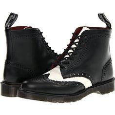 Dr martens affleck brogue boot off white smooth, Black Black Brogue Boots, Black Lace Up Shoes, Wingtip Shoes, Black Oxfords, Lace Up Boots, Black Boots, Dr. Martens, Dr Martens Boots, Slip Resistant Shoes